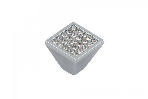 Ручка-кнопка мебельная с кристаллами хром (CRL03)