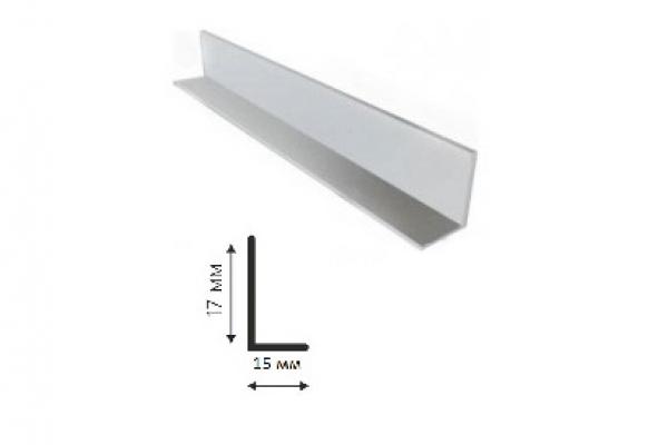 Угол равнополочный ПВХ 15*17*2700 белый Декопласт