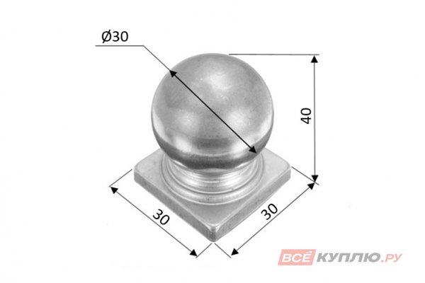 Наконечник на столб 30 мм ≠1 мм штампованный (3113)