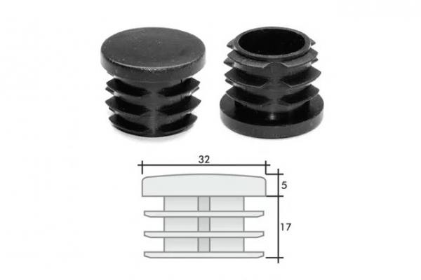 Заглушка ПВХ на круглую трубу внутренняя D=32 мм