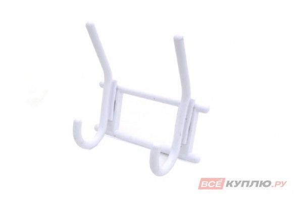 Крючок-вешалка пластмассовый двухрожковый Кунгур белый (3276)
