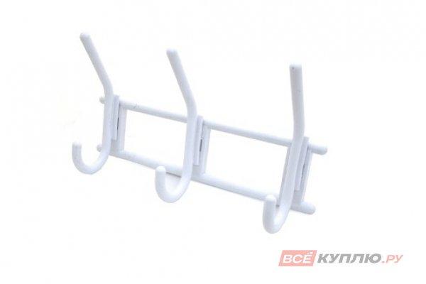 Крючок-вешалка пластмассовый трехрожковый Кунгур белый (3277)