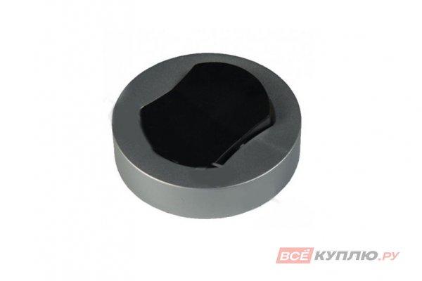 Выключатель накладной мебельный D66 мм, 250B, 2,5A H16мм, с проводом 0,2м корпус серебристо-серый, кнопка черная (14887)