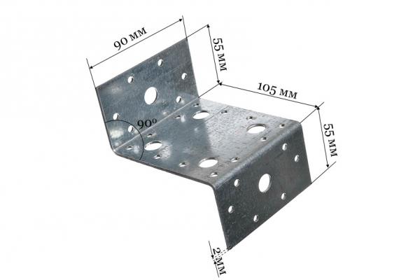 Уголок крепежный Z-образный KUZ 55*105*90 мм