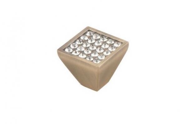 Ручка-кнопка мебельная с кристаллами бронза (CRL05ВА)
