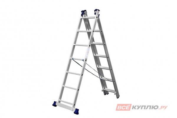 Лестница СИБИН универсальная, трехсекционная со стабилизатором, 7 ступеней (38833-07)