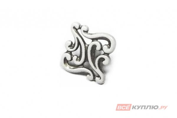 Ручка-кнопка мебельная Giusti WPO721 белый/ серебро винтаж