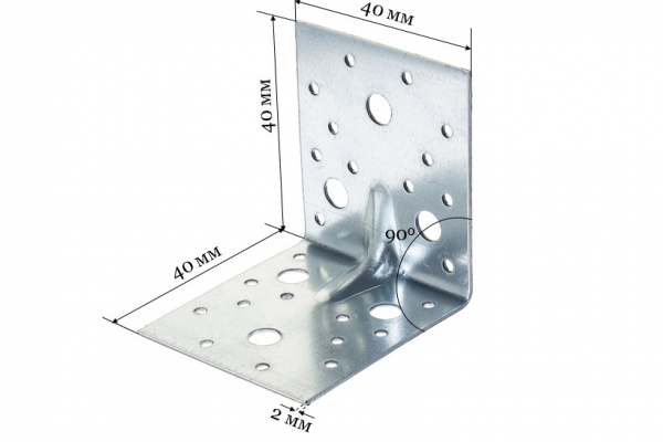Уголок крепежный усиленный равносторонний KUU 40*40*40*2 мм