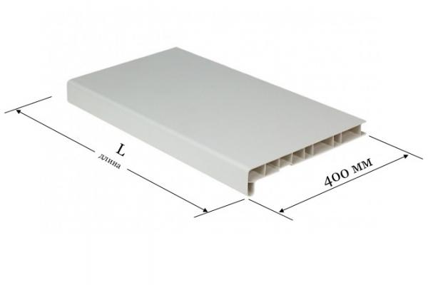 Подоконник ПВХ 400 мм Мастер Пласт белый