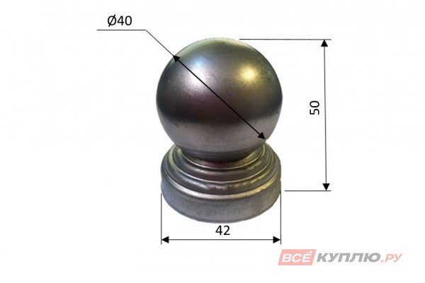 Наконечник на круглую трубу 40 мм ≠1 мм штампованный (3114/1)
