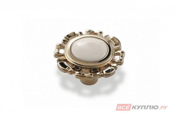 Ручка-кнопка мебельная FB-033 000 Золото/белый (TS)