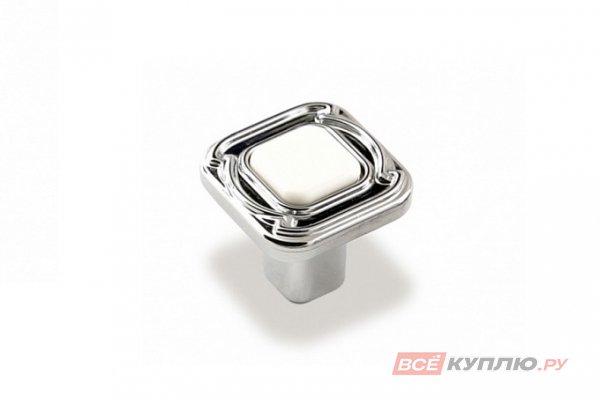 Ручка-кнопка мебельная FB-026 000 Cr глянцевый/белый (TS)