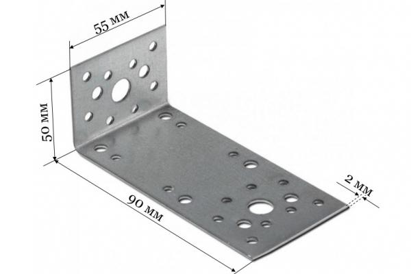 Уголок крепежный ассиметричный KUAS 90*50*55*2 мм