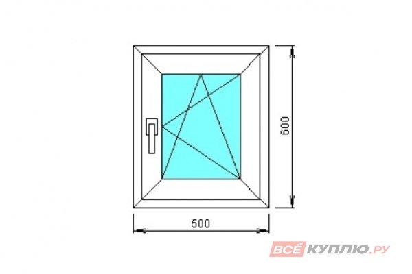 Окно ПВХ одностворчатое 500х600 мм правое поворотно-откидное