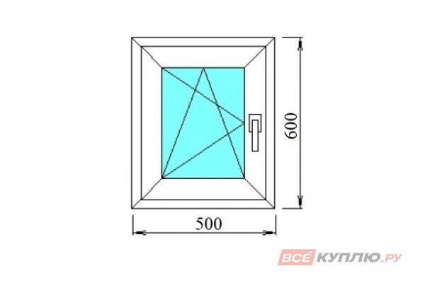 Окно ПВХ одностворчатое 500х600 мм левое поворотно-откидное