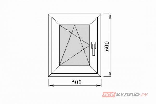 Окно ПВХ Deceuninck одностворчатое 500х600 мм левое поворотно-откидное