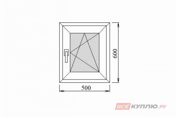 Окно ПВХ Deceuninck одностворчатое 500х600 мм правое поворотно-откидное