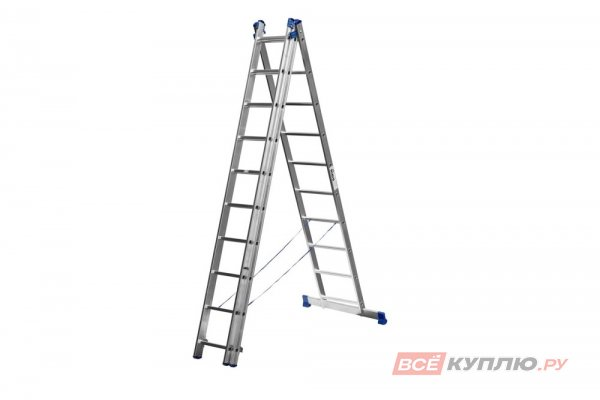 Лестница СИБИН универсальная, трехсекционная со стабилизатором, 10 ступеней (38833-10)
