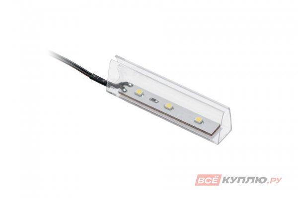 Клипса пластиковая для стеклянной полки светодиодная на стекло 10мм, 3 диода 0,25W, 12V, 2м провод, синий свет