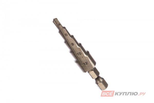 Сверло ступенчатое по металлу STAYER 4-12 мм; 5 ступеней; 65 мм (29660-4-12-5)