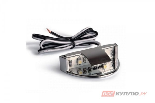 Клипса пластиковая для стеклянной полки светодиодная на стекло 8мм, 2 диода 0.25W, 12V, 1,5м провод, красный свет