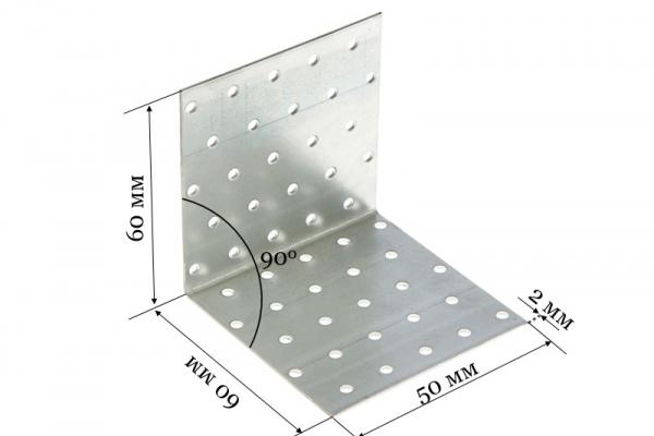 Уголок крепежный равносторонний KUR 60*60*50*2 мм