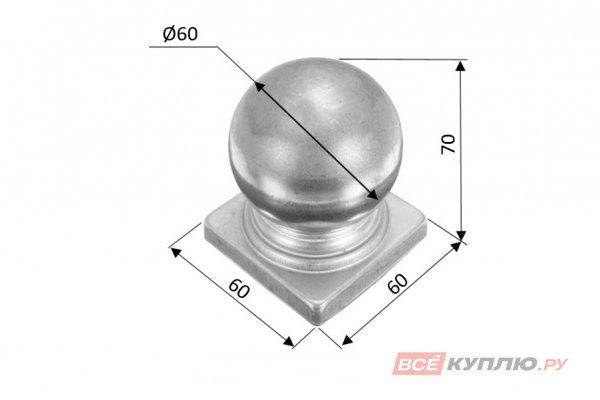 Наконечник на столб 60 мм ≠1 мм штампованный (3116)