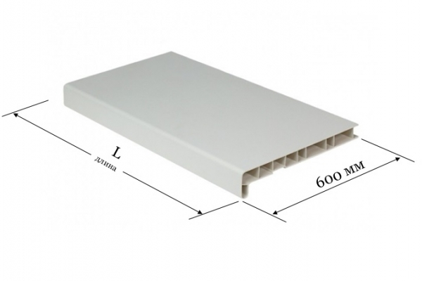 Подоконник ПВХ 600 мм Window System белый