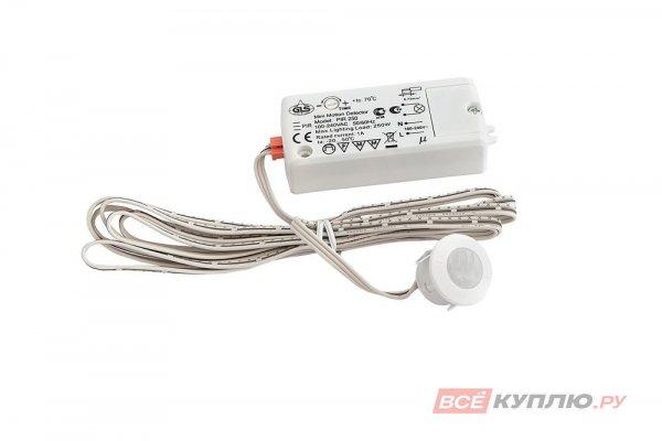 Выключатель врезной PIR250, датчик движения 2м, max 220V, max 250W, провод 2м, белый (15005)