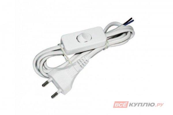 Провод сетевой (303) 220B, 2,2 м 2х0,5 мм 2 с вилкой и выключателем белый
