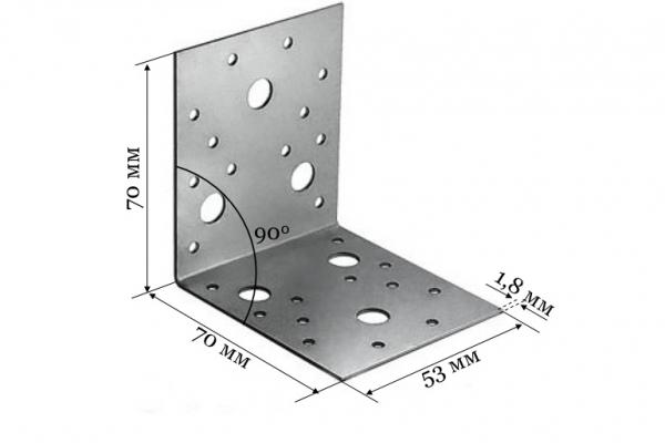 Уголок крепежный KU 70*70*53*1,8 мм