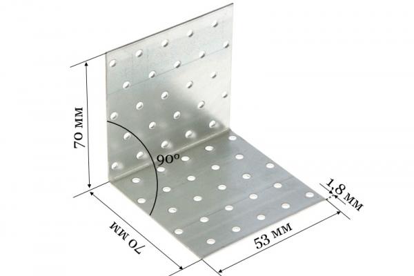Уголок крепежный равносторонний KUR 70*70*53*1,8 мм