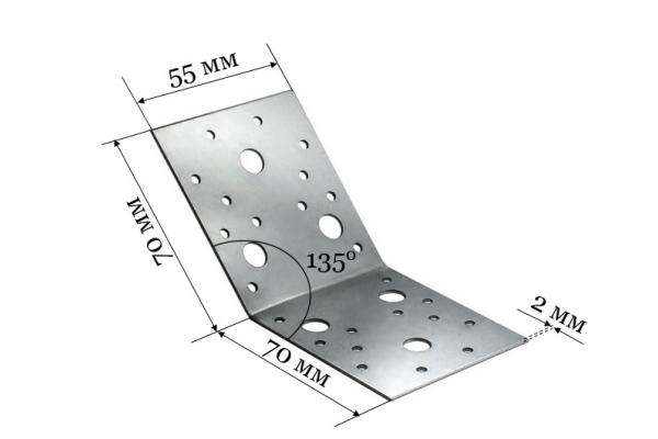 Уголок крепежный под 135 градусов KUS 70*70*55 мм