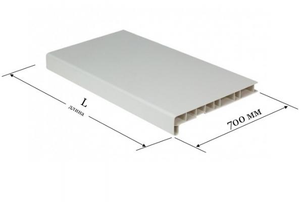 Подоконник ПВХ 700 мм Витраж белый