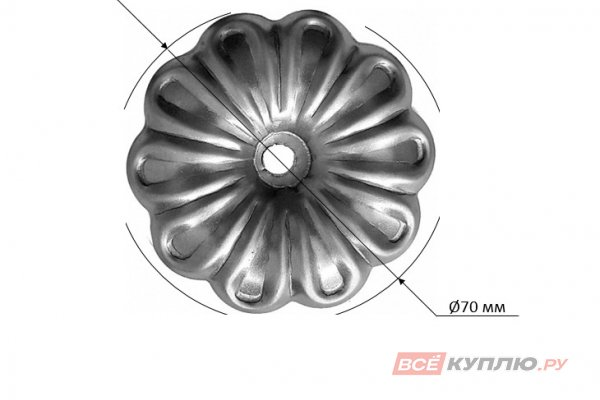 Цветок Ø70 мм ≠0,8 мм штампованный (116.01)