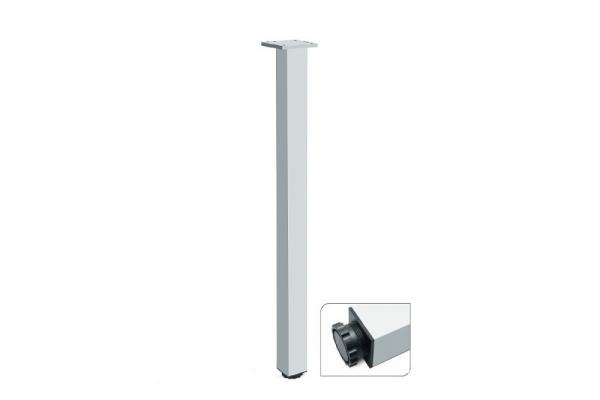 Ножка мебельная для стола регулируемая квадратная 710/46*46 матовый хром