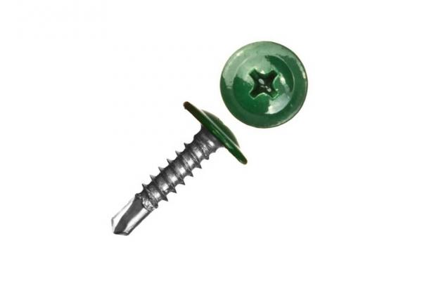 Саморез прессшайба 4,2*76 мм сверло цинк RAL 6005 темно-зеленый