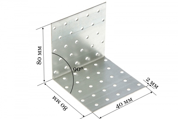 Уголок крепежный равносторонний KUR 80*80*40*2 мм