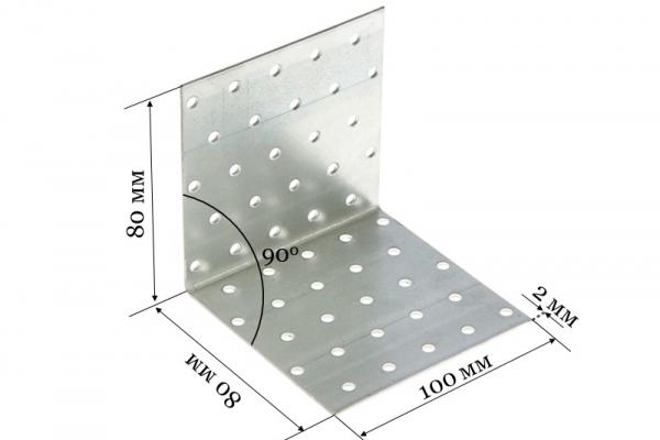 Уголок крепежный равносторонний KUR 80*80*100*2 мм