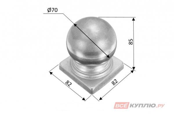Наконечник на столб 80 мм ≠1 мм штампованный (3118)