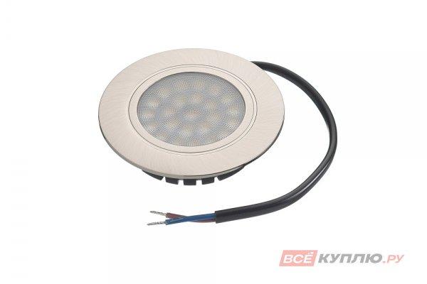 Точечный встраиваемый светодиодный светильник LED Polo 4W, 220V, никель матовый, нейтральный белый (14028)