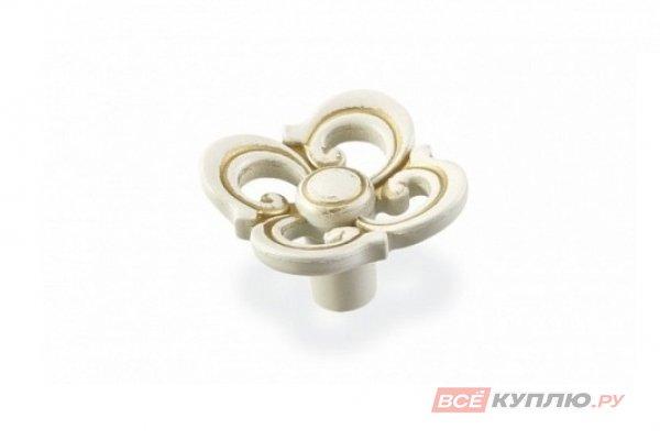 Ручка-кнопка мебельная FB-058 золото прованс/1013 жемчужно-белый матовый