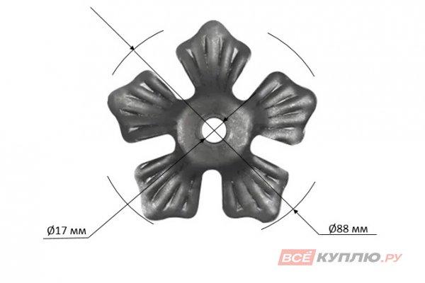 Цветок 88 мм, отверстие Ø17 мм ≠2 мм штампованный (138/3)