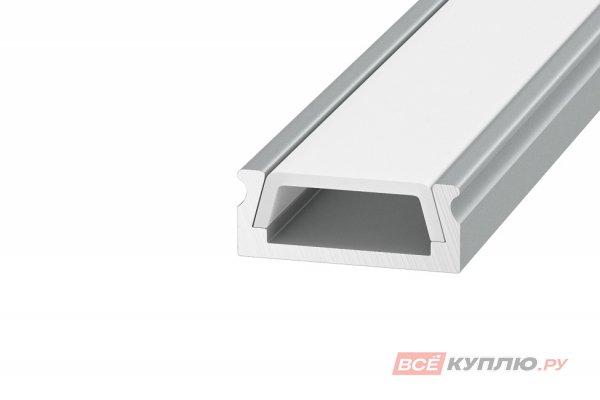 Профиль накладной 1506 15*6*2000 алюминиевый для светодиодной ленты в комплекте с матовым экраном, 2 заглушки и 2 крепежа (аналог LR39)