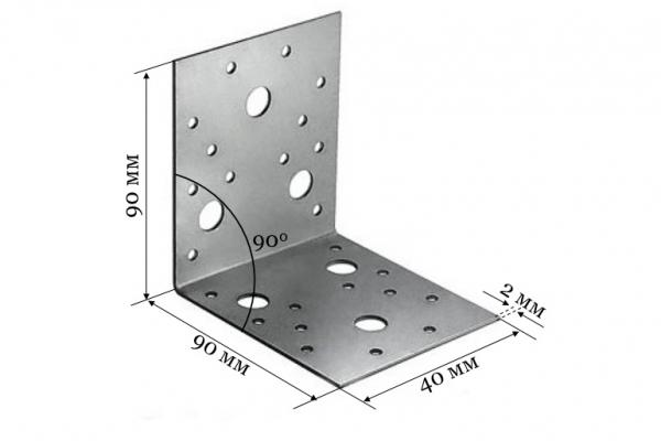 Уголок крепежный KU 90*90*40*2 мм