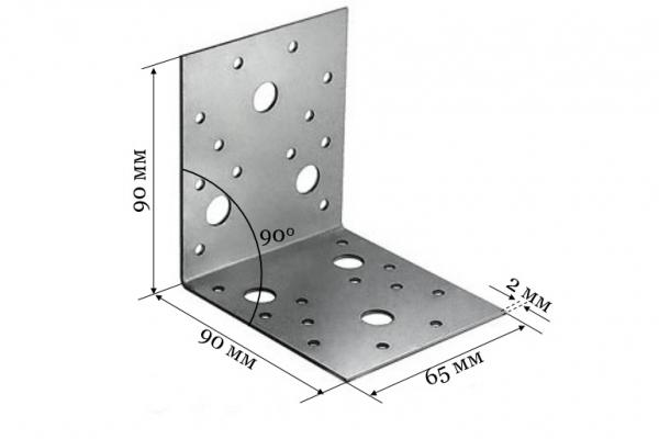 Уголок крепежный KU 90*90*65*2 мм