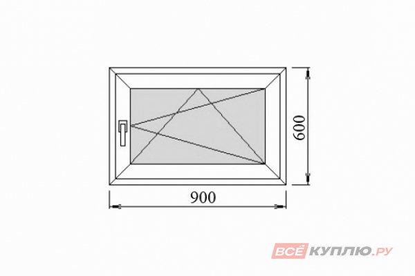 Окно ПВХ одностворчатое 90х60 мм поворотно-откидное