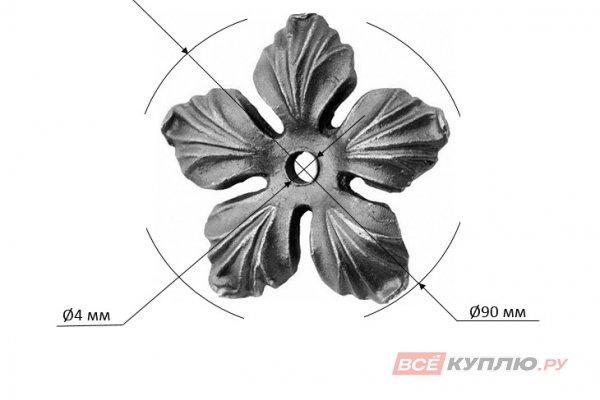 Цветок 90 мм, отверстие Ø4 мм литье (29/4 (664/5))