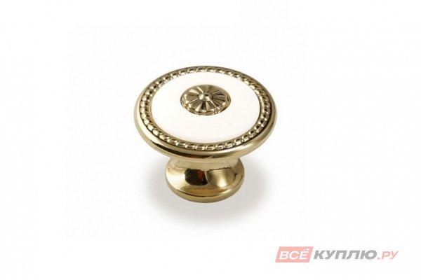 Ручка-кнопка мебельная FB-027 000 Золото/белый (TS)