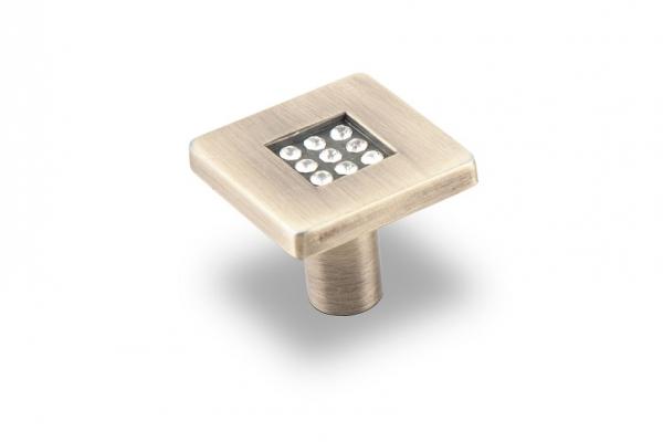 Ручка-кнопка мебельная с кристаллами бронза (CRL03ВА)